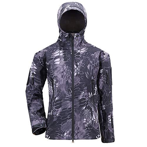 Military Ba High Visibility Reflective Outdoor Jacket Softshell Hooded-Black Python 3XL