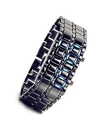 Lancardo Hot Metallic Black Lava Faceless Blue LED Volcanic Men Lady Bracelet Metal Sports Wrist Watch (Blue Light)