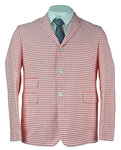 Brooks Brothers Black Fleece Men's Tailor to Fit Gingham Plaid Classic Jacket Blazer Red ()