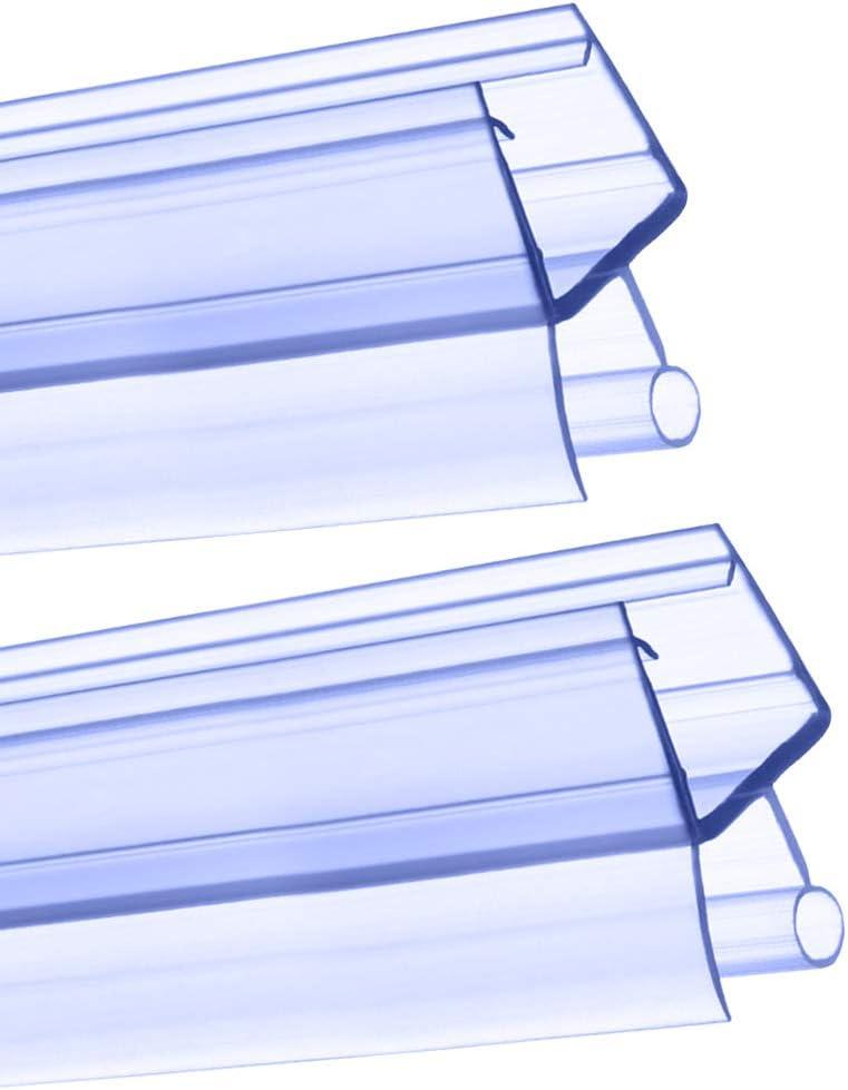 Shower Door Seal 2pcs 4-6mm Plastic Shower Screen Seal Strip Replacement Bathroom Bottom Rubber Glass Door Guard 100cm//1000mm