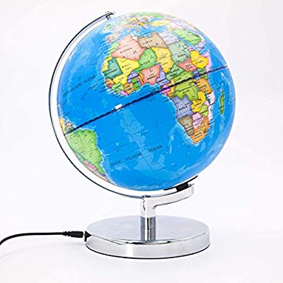 """9"""" World Globe with Illuminated Constellations Light Up Smart Earth Globes of The World with Stand 3 in 1 Interactive Earth Globe for Children Educational Gift Home Office Desk Decoration: Office Products"""