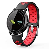 TechCode Running Watch Bands, Waterproof IP67 Full Color Screen Fitness Activity Tracker with Sleep Heart Rate Monitor Smart Bracelet Watch OLED Pedometer Compatible with iOS Android Systems - Red