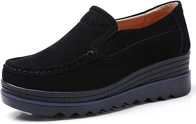 Ladies Womens Low Heel Wedges Office Loafers Slip on Work Shoes Sneakers size