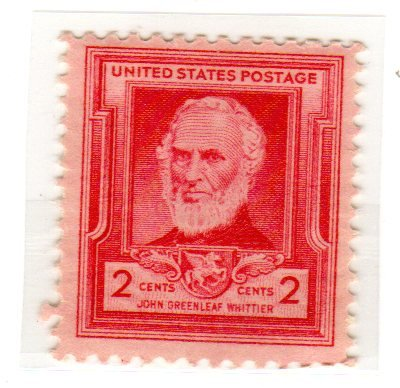 Postage Stamps United States. One Single 2 Cents Rose Carmine, Famous Americans Issue, Poets, John Greenleaf Whittier, Stamp Dated 1940, Scott #865. ()
