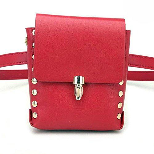 Price comparison product image Women Shine Bling Leather Hologram British Vintage Classic Bag Bum Velour Waist Belt Fanny Packs (Red British,  One_Size)