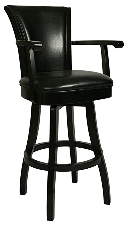 Impacterra QLGL217327865 Glenwood Swivel Stool With Arms, 26u0026quot; Counter  Height, Feher Black/