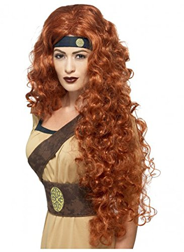 Faerynicethings Adult Size Red Medieval Warrior Queen Wig - Costume Accessory]()