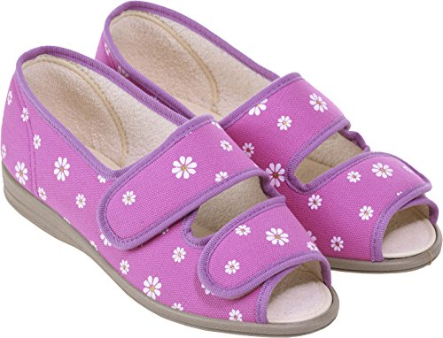 Cosyfeet Molly Fabric Shoes - Extra Roomy (Eeeee+ Width Fitting) Lilac Fleur Cotton-mix YMqwmEn9