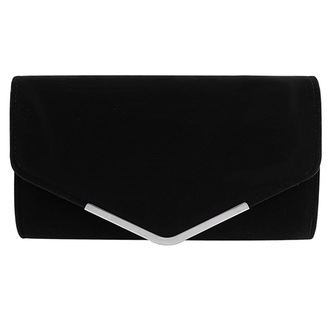 Clorisloveレディースファッションイブニングパーティークラッチハンドバッグスエードショルダーチェーンバッグ財布(ブラック) B01GRT1STO