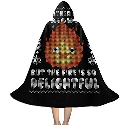 Calcifer Howls Moving Castle Christmas Knit Pattern Unisex Kids Hooded Cloak Cape Halloween Xmas Party Decoration Role Cosplay Costumes ()