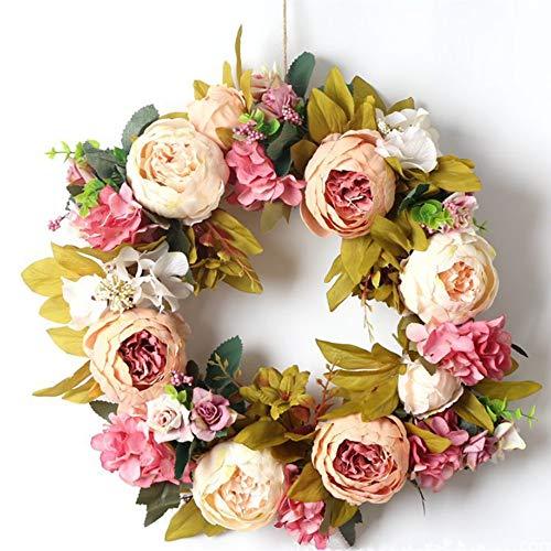 Brown Artificial Wreath - LITVZ Peony Flower Floral Twig Door Wreath, Festival Celebration Artificial Wreath for Front Door
