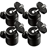 "LANIAKEA 4 pcs Mini Ball Head with Lock and Hot Shoe Adapter Camera Cradle 1/4"" Mount Adapter, 360 Degree Light Bracket Swivel 1/4"" Screw Tripod Ballhead for DSLR Camera, Camcorder, LCD Monitors"