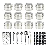12-Piece Magnetic Spice Tins Set | Round Stainless Steel Containers With Shaker Lids | For Salt, Pepper, Herbs Or Seasonings | Organize Kitchen Counters & Racks | Incl. 150 Sticker Labels & Chalk Pen