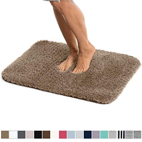 Gorilla Grip Original Luxury Faux Chinchilla Shag Bath Rug, 30x20, Super Soft and Cozy, High Pile Rugs, Thick Modern Bathroom Carpet Mat, Machine-Washable Large Floor Mats for Bath Room, Beige