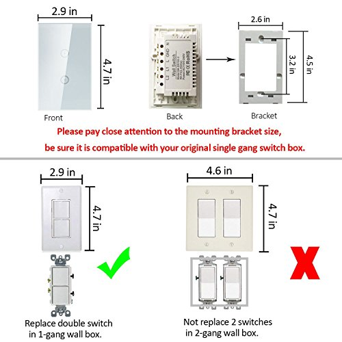 Smart Wifi Light Switches, Touch Wall Switch Panel, Replace 2 ... on 2 switches 2 lights 1 power source diagram, 2-way switch diagram, 2 gang three way switch, 2 gang receptacle wiring-diagram, one way switch diagram, light switch diagram, 2 gang switch cover, two lights two switches diagram,