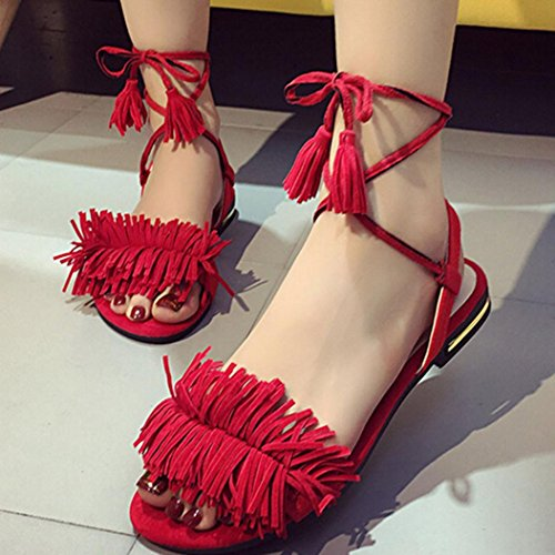 Australia Dress Red (Wensltd Fashion Summer Women Tassels Thong Flat Sandals Hot Cross Buckle Shoes (Red,)