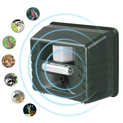 PowerRider Ultrasonic Outdoor Animal Pest Repellent, Flashing LED Lights Animal Repeller Pest Repeller Pest Control with Motion Detector Rodents, Cats, Rats, Mouse, Mice,Deer, Bear, Raccoon Eliminator ()