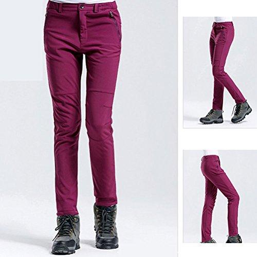 Zhhlinyuan Fashion High Quality Women's Riding Skiing Climbing Hiking Fleece Soft Shell Warm Elastic Waist Pants Wine Red