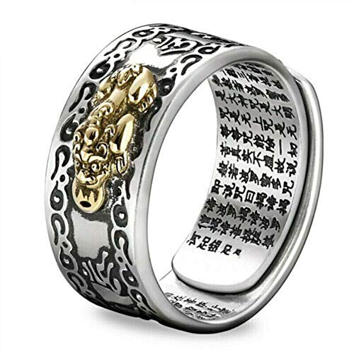 FENG Shui PIXIU MANI Mantra Protection Wealth Ring (Gold)