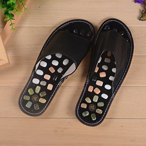 Reflexology Acupoint Black HONG De Foot Foot Massager 42 Soft Base Masculino Pie Base Black Masaje Zapatillas Pebble 42 JIA SwxPqg8q