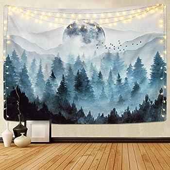 Sevenstars Misty Forest Tapestry Foggy Mountain Tapestry Magical Tree Tapestry Nature Tapestry Woodland Tapestry