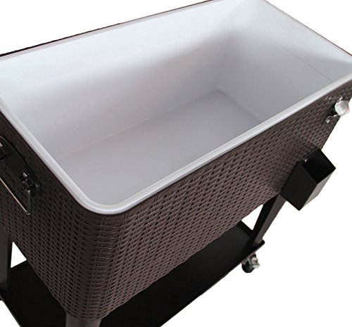 Clevr 80 Qt Outdoor Patio Rolling Ice Chest Cooler Cart, Dark Brown Wicker Faux Rattan   Portable Party Drink Beverage Bar Cold   Wheels with Shelf & Bottle Opener by Clevr (Image #9)