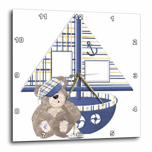 Teddy Bear Wall Clock - 3dRose dpp_151882_1 Sailboat and Teddy Bear Wall Clock, 10 by 10-Inch