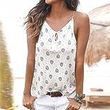 Women Sleeveless Blouse,IEason 2017 Women Summer Print Sleeveless Vest Shirt Tank Tops Blouse T-shirt (M, White2)