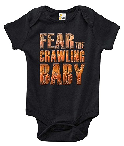 Fear the Crawling Baby Baby Bodysuit Cute Baby Clothes for Infant Boys and Girls (0-3 Months, Black) (Clothes Baby Zombie)