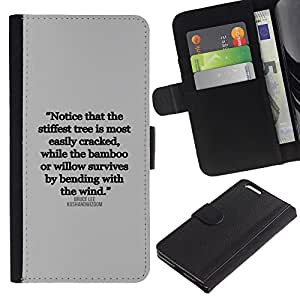 Billetera de Cuero Caso del tirón Titular de la tarjeta Carcasa Funda del zurriago para Apple Iphone 6 PLUS 5.5 / Business Style inspirational quote text letter truth