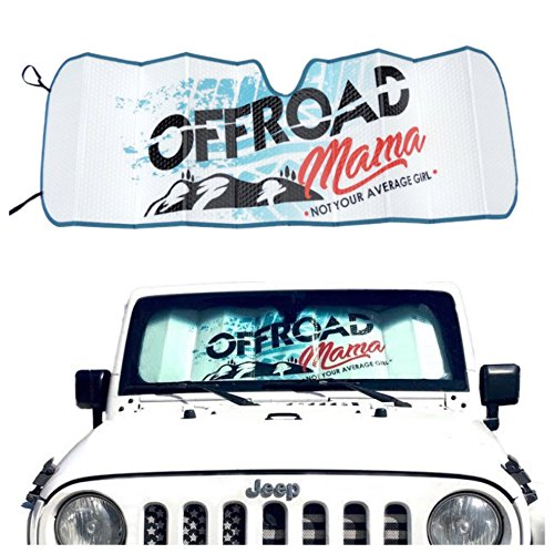 Offroad Mama Jeep Wrangler Windshield Sunshade Sun Shade for 2007-2018 Jeep  Wrangler JK JKU JL JLU Jeep Windshield Sun Shade for UV and Heat Protection 560b8f1055a