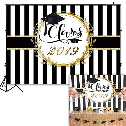 Funnytree 7x5ft Graduation Party Backdrop Class of 2019 Black and White Stripes Photography Background Congrats Grad Prom Decorations Photo Studio Booth Props Cake Table -