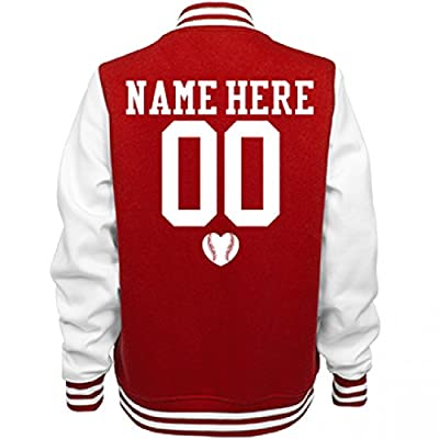 Cute Baseball Girlfriend Name: Ladies Fleece Letterman Varsity Jacket