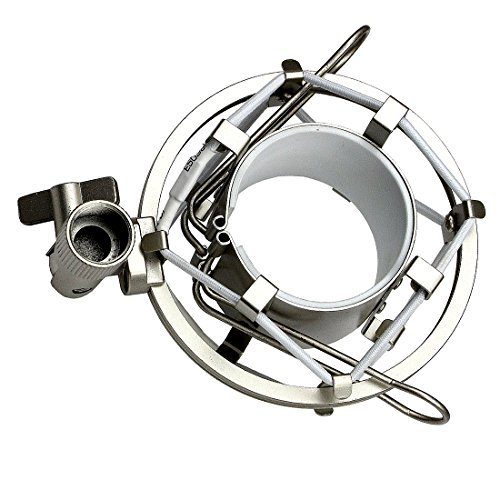 ZRAMO Silver Spider Universal Microphone Shock Mount Holder Adapter Clamp Clip for AT2020 USB PR40 RE20 AT4033a AT2050 Large Diameter Studio Condenser Mic ()