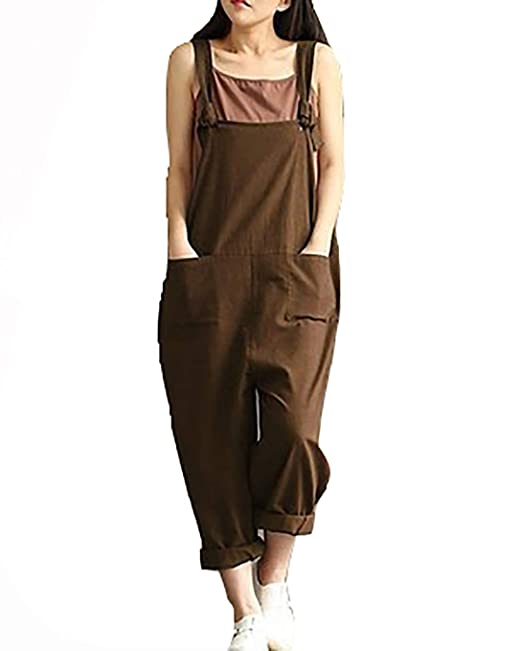 beaa5ce9d5a Women Loose Jumpsuit Cotton Linen Solid Color Overalls Sleeveless Pockets  Harem Wide Legs Casual Dungarees Playsuit Rompers  Amazon.co.uk  Clothing