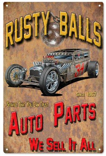 Rusty Balls Garage Shop Reproduction Hot Rod Metal Sign 18x30 ()