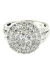 3.25 Ct White Gold Diamond Cluster Ring 18 Kt