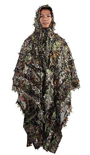 (Zicac Outdoor 3D Leaves Camouflage Ghillie Poncho Camo Cape Cloak Stealth Ghillie Suit Military CS Woodland Hunting Poncho)