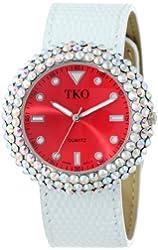 TKO ORLOGI Women's TK618-RW Red White Crystal Leather Slap Watch