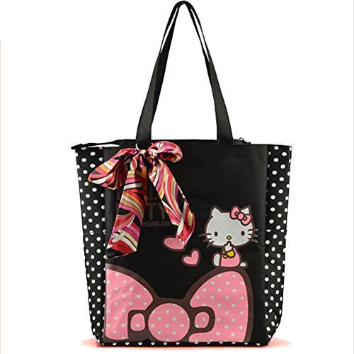 YOURNELO Girl's Bowknot Canvas Cartoon Hello Kitty Shopping Bag Handbag Tote Shoulder Bag -