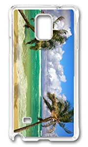 MOKSHOP Adorable Beach Palms Ocean Hard Case Protective Shell Cell Phone Cover For Samsung Galaxy Note 4 - PC Transparent by lolosakes