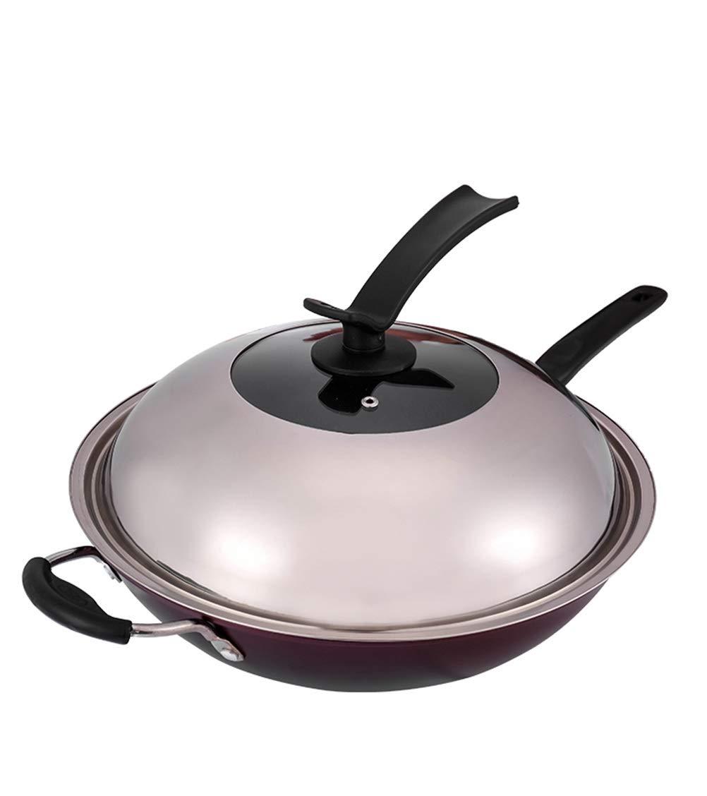 WYQSZ Wok - Non-stick wok wok multi-function household pot exquisite and durable wok -fry pan 2365 (Design : C)