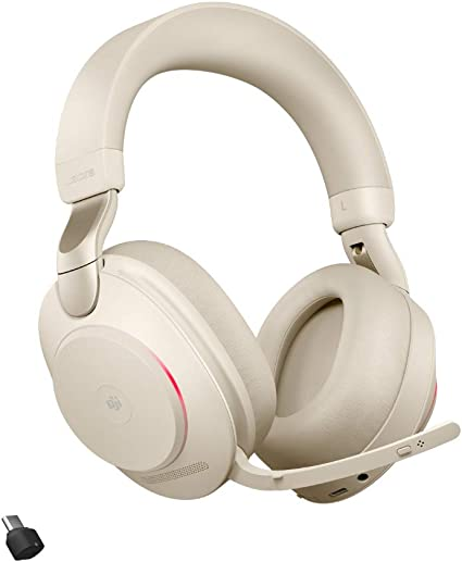 Jabra Evolve2 85 Wireless Headset Mit Ladestation Noise Cancelling Microsoft Teams Zertifizierte Stereo Kopfhörer Mit Langer Akkulaufzeit Usb A Bluetooth Adapter Beige Elektronik