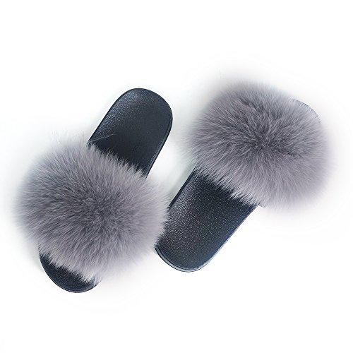 Manka Vesa Women Winter Real Fox Fur Feather Vegan Leather Open Toe Single Strap Slip On Sandals Light Grey