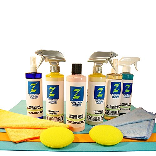 Max Pack Detailing Kit 2-2EZ Carnauba Spray Wax + Diamond Premium Polish + R/3 Rim & Tire Cleaner + Tire & Plastic Dressing + Carpet & Upholstery Cleaner + Great Gift IDEA ()