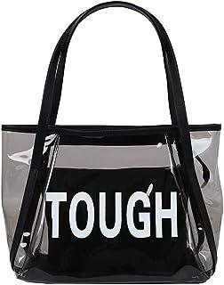 MEIbax Borse a Mano Donna Borsa a Tracolla a Tracolla per la Spiaggia Madre Moda Trasparente + Borsa Messenger + Borsetta Elegante Borsette Vintage Handbag Shoulder Bag