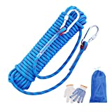 Liberry Outdoor Static Rock Climbing Rope,10_mm Diameter, Fire Escape Safety Rappelling Rope Outdoor Rescue Rope with Hooks: 32_ft, 64_ft, 96_ft Optional