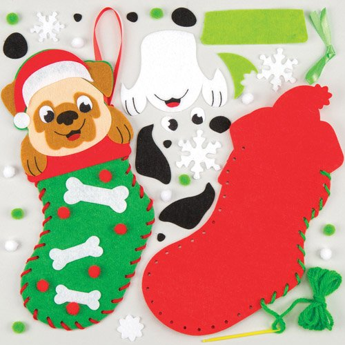 Festive Puppy Stocking Kits Perfect For Xmas Children's Arts, Crafts And Decorating For Boys And Girls (Pack of (Cheap Classroom Decorating Ideas)