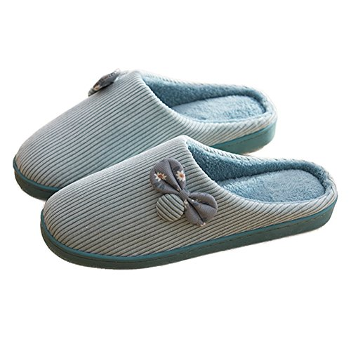 CYBLING Winter Womens Lovely Bowknot Stripe Plush Indoor House Slipper Anti-Skid Green su5N0mBqH