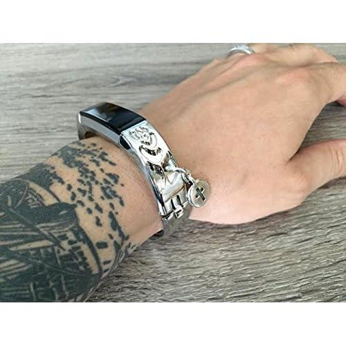 Métal Argenté Band pour Fitbit Alta et Alta HR Fitness tracker d'activité Motif de fleurs Bijoux Fitbit Alta/Alta HR Bracelet avec argent Croix chrétienne religieuse Charm accessoire de bracelet